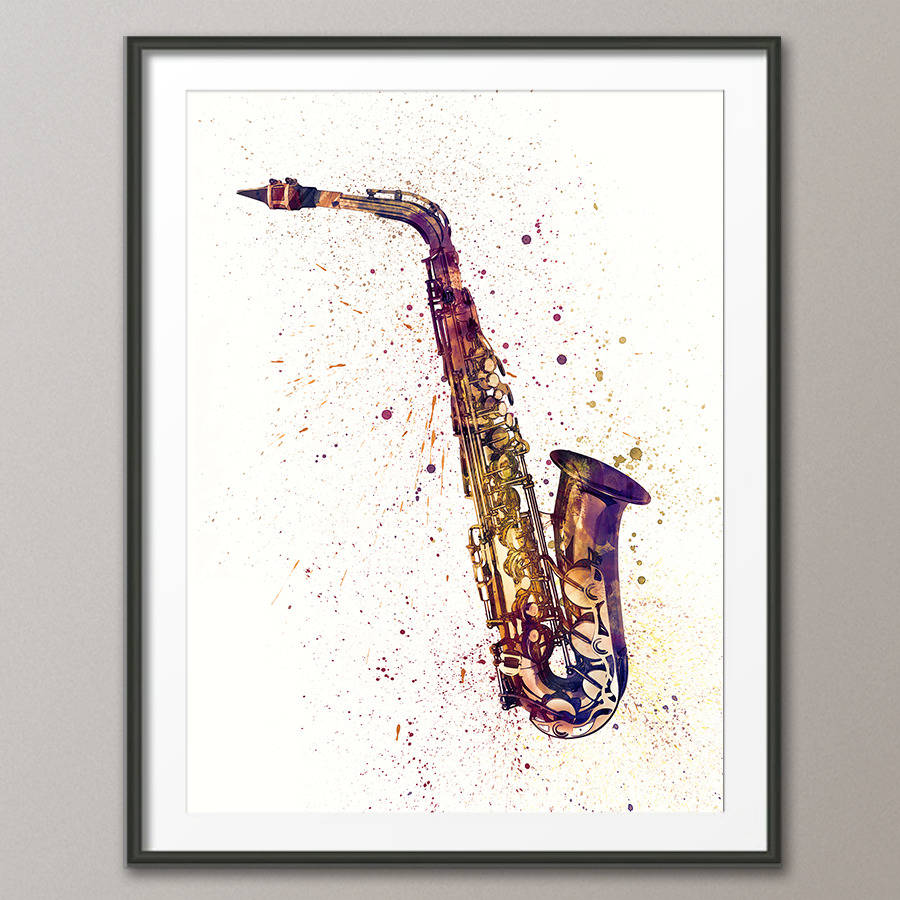 Saxophone Watercolour Abstract Art Print By Artpause