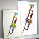 Trumpet Watercolour Abstract Art Print