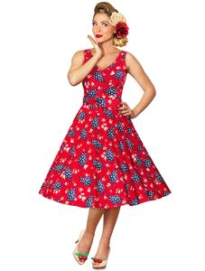 1950s Style Red Teapots Swing Dress
