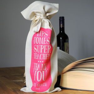 Personalised Super Teacher Bottle Bag - wine racks & storage