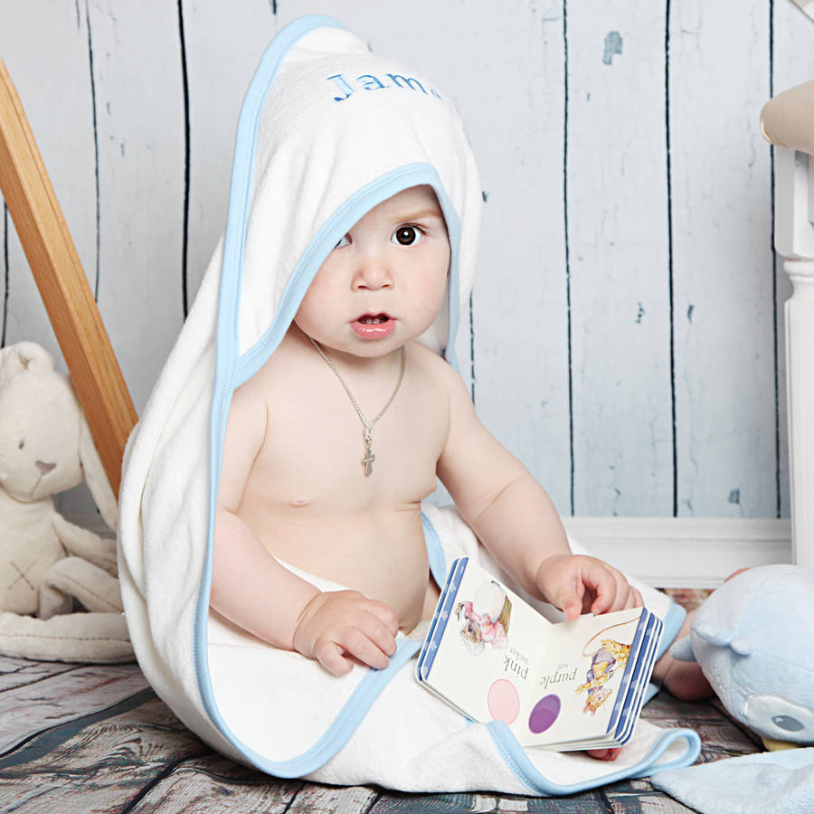 personalised hooded baby towel for boys by dcaro. Black Bedroom Furniture Sets. Home Design Ideas