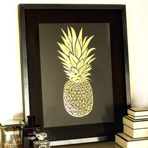 Handmade Framed Pineapple Papercut - mixed media & collage