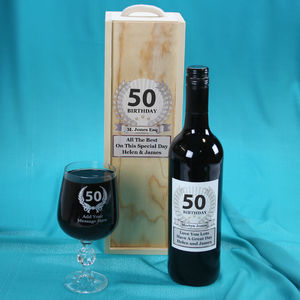 50th Birthday Personalised Wine Gift Set - 50th birthday gifts