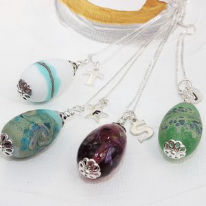 Lampwork Glass Egg Necklace