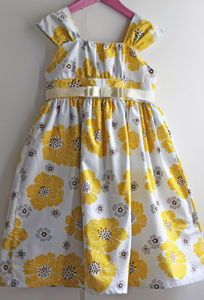 Girl's Lemon Printed Dress - wedding and party outfits