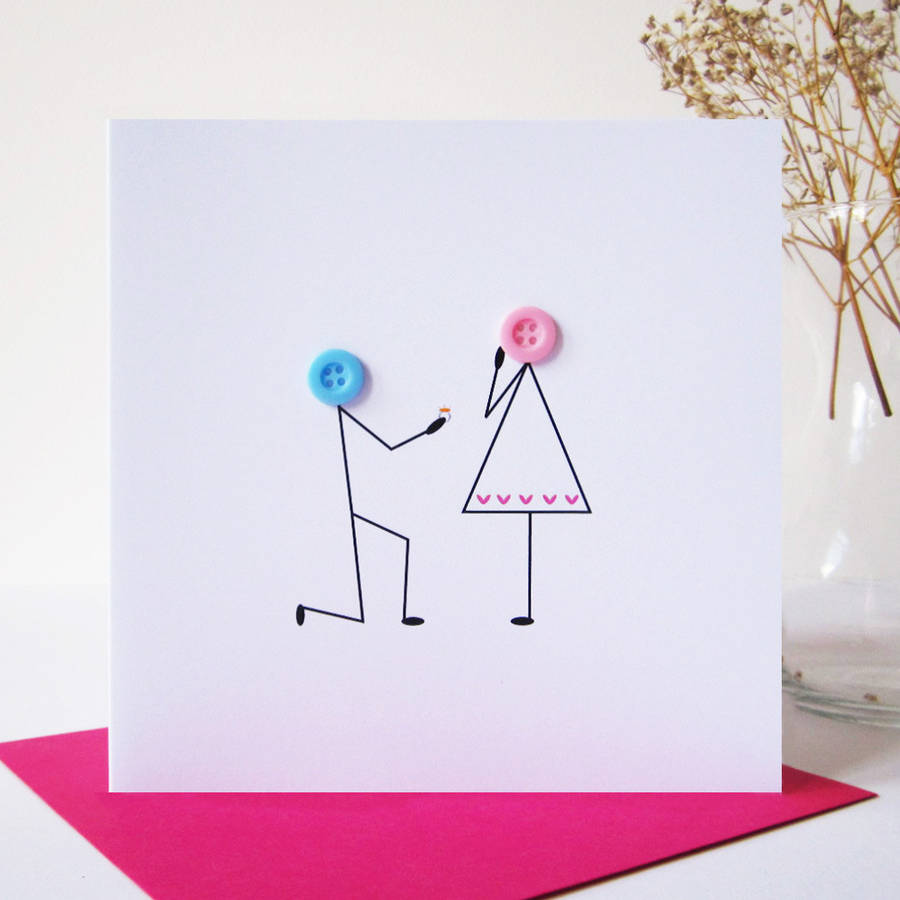 Proposal Button Card By Mrs L Cards Notonthehighstreet Com
