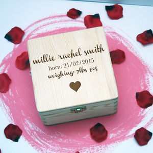 Personalised New Baby Wooden Box