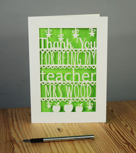 Personalised Papercut Thank You Teacher Card
