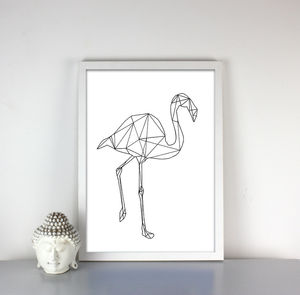 Geometric Flamingo Print