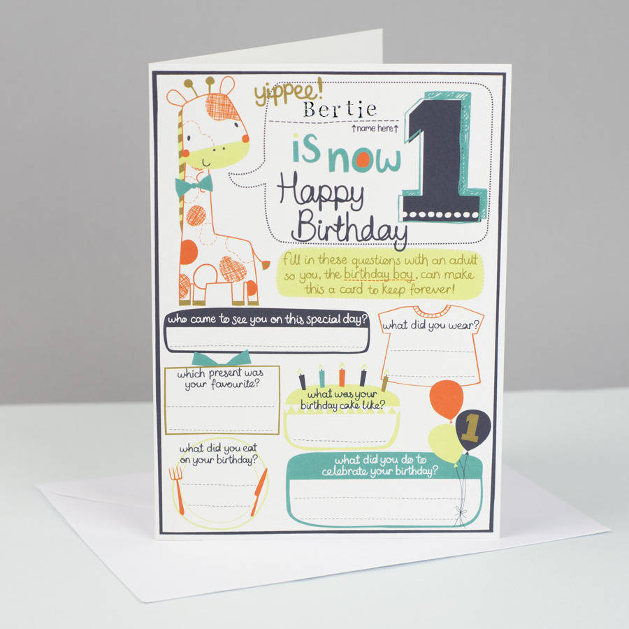 1st Birthday Personalised Card For Boys