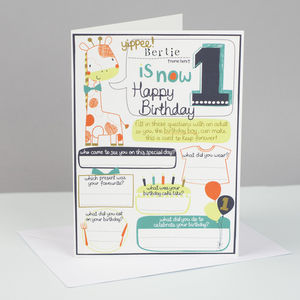 1st Birthday Personalised Card For Boys - birthday cards