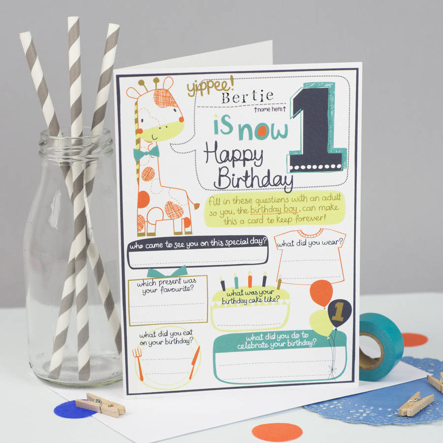 Personalised Keepsake 1st Birthday Card For Boys