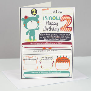 Personalised Boy's 2nd Birthday Card
