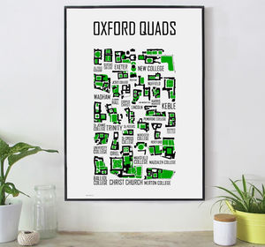 Oxford Quads Hand Illustrated Print - posters & prints