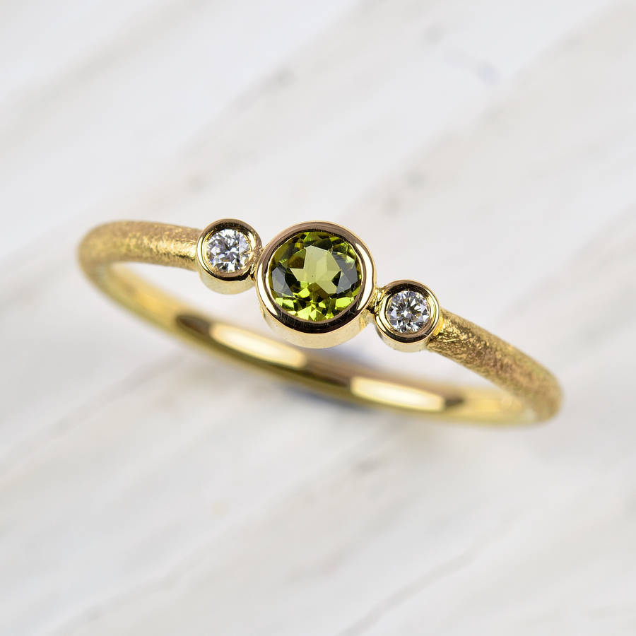 peridot diamonds handmade halo ring pave wedding bridal engagement carat gold green rings white certified