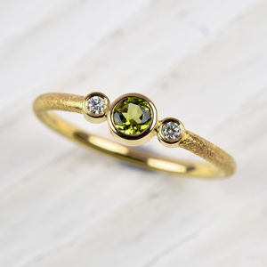 18ct Gold Peridot And Diamond Ring - engagement rings