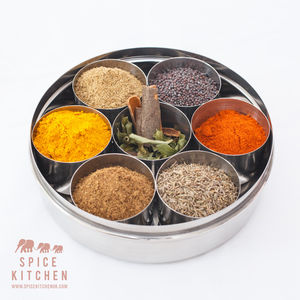 Spice Tin Aka Masala Dabba With 10 Indian Spices - spicy food gift ideas