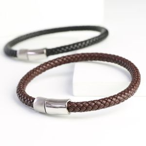 Men's Braided Leather Bracelet With Dual Clasp - bracelets