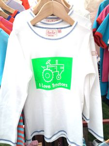 I Love Tractors Hand Printed Long Sleeved T Shirt