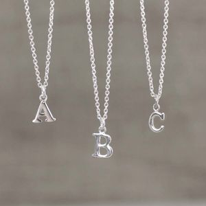 Mini Silver Initial Charm Necklace - necklaces
