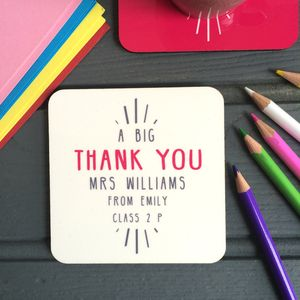 Personalised 'Big Thank You' Teacher Coaster - placemats & coasters