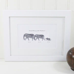 Personalised Elephant Family Print - animals & wildlife