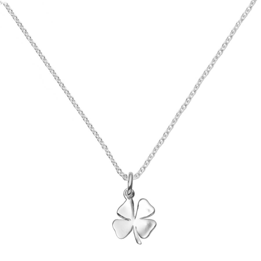 heart shamrock necklace necklaces silver sterling leaf clover four in