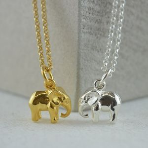 Elephant Charm Necklace With Personalised Message Card - necklaces & pendants