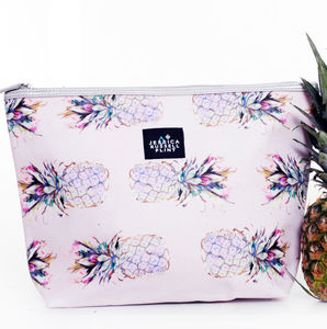 Leather And Waxed Canvas Pineapple Washbag In Giftbag - make-up & wash bags