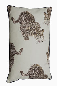 Pouncing Leopard Linen Bolster Cushion Cover - cushions