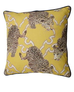 Pouncing Leopard Cushion Cover With Velvet Trim
