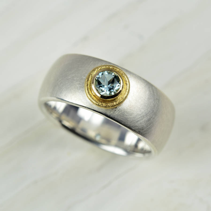 silver and gold aquamarine ring by mh goldsmith ...