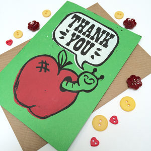 Cute Apple And Worm Linocut Thank You Card