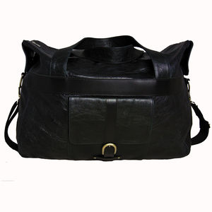 Handcrafted Black Leather Travel Bag - travel & luggage