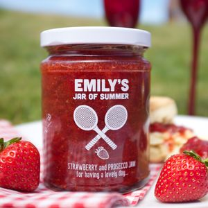 Personalised Strawberry And Prosecco Tennis Jam - food gifts