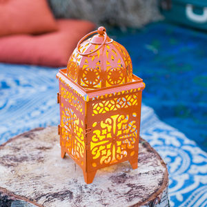 Orange Moroccan Battery LED Candle Lantern