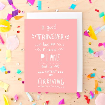 Coral Travel Quote Greeting Card