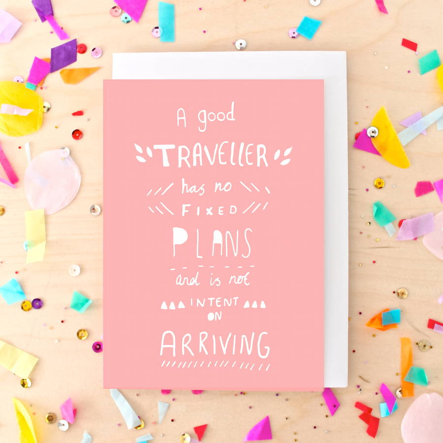 Inspirational travel quote greeting card by ginger pickle coral travel quote greeting card m4hsunfo