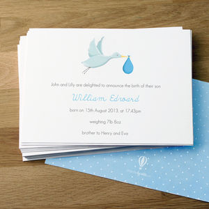 Personalised New Baby Boy Announcement Cards