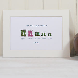 Personalised Welly Boot Family Print - posters & prints
