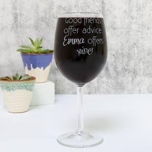 Personalised 'Good Friends' Wine Glass
