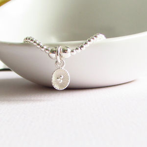 Sterling Silver Beaded Lily Pad Bracelet