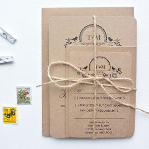 Recycled Lovebird Wedding Invitation