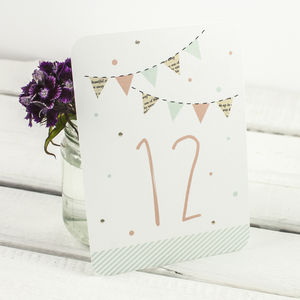 Bunting And Spots Wedding Table Numbers - table numbers