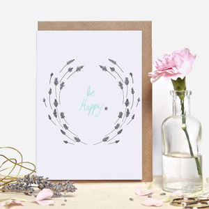 Be Happy Lavender Wreath Greeting Card