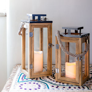 Set Of Two Salcombe Wooden Candle Lanterns - candles & home fragrance