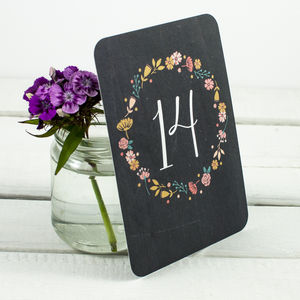 Floral Chalkboard Wedding Table Numbers - table numbers