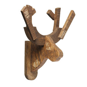Wooden Moose Head Wall Hanging