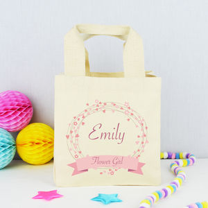Personalised 'Flower Girl' Wedding Bag - ribbon & wrap