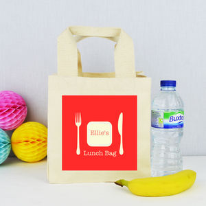 Personalised Knife And Fork 'Lunch' Bag